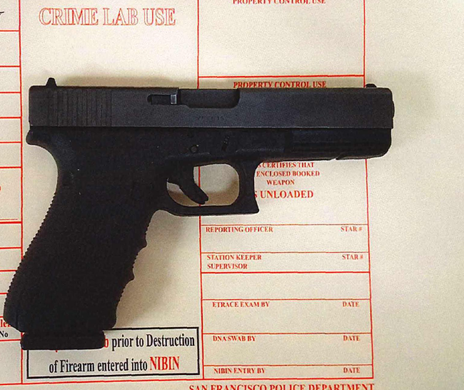 Firearm found by police in the suspect's possession.