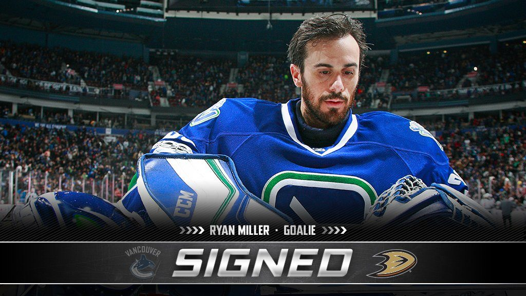 Ryan Miller, former goaltender for the Buffalo Sabres, St. Louis Blues, and Vancouver Canucks, closed a two-year deal with Anaheim on Saturday, July 1, 2017