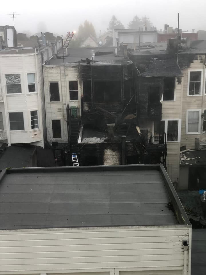 Neighbors posted pictures of the building on Twitter.