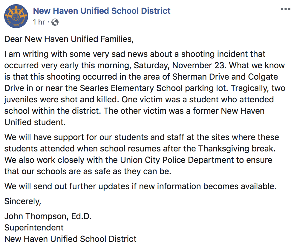 New Haven Unified School District said they will give updates once they were available.